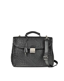 Black Woven Leather Business Bag w/Shoulder Strap - Forzieri