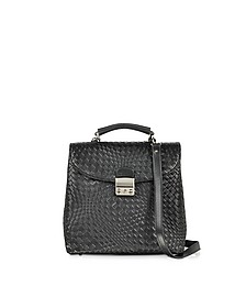 Black Woven Leather Vertical Messenger - Forzieri