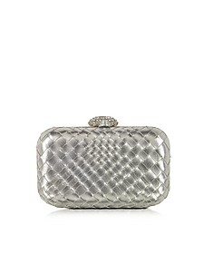 Woven Leather Clutch w/Crystals Closure