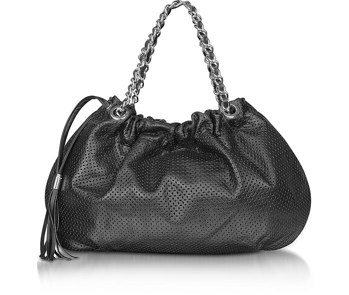 Black Perforated Leather Hobo - Forzieri