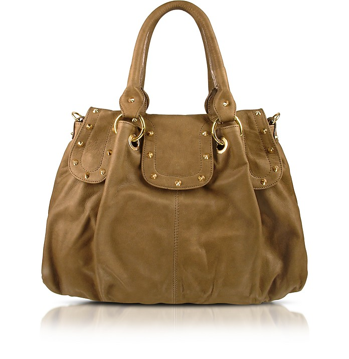 Studded Satchel Bag w/Shoulder Strap - Forzieri