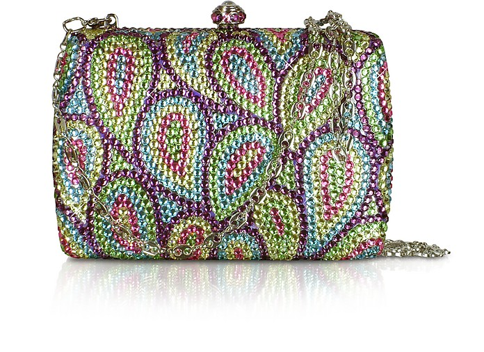 Multicolor Crystal Jeweled Evening Hard Clutch w/Chain Strap - Forzieri