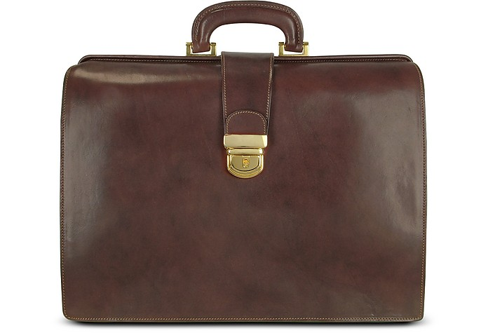 Brown Italian Leather Buckled Large Doctor Bag - Forzieri