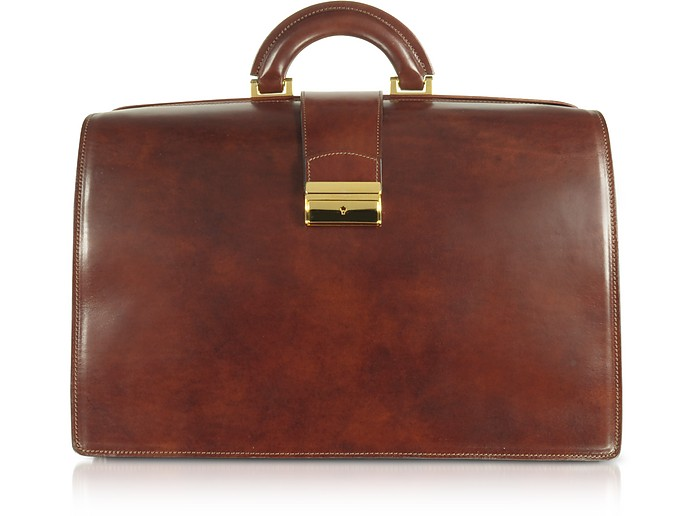 Doctor bag grande in pelle marrone con fibbia - Forzieri