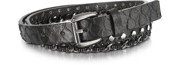 Black Python Chain and Studded Skinny Belt  - Forzieri