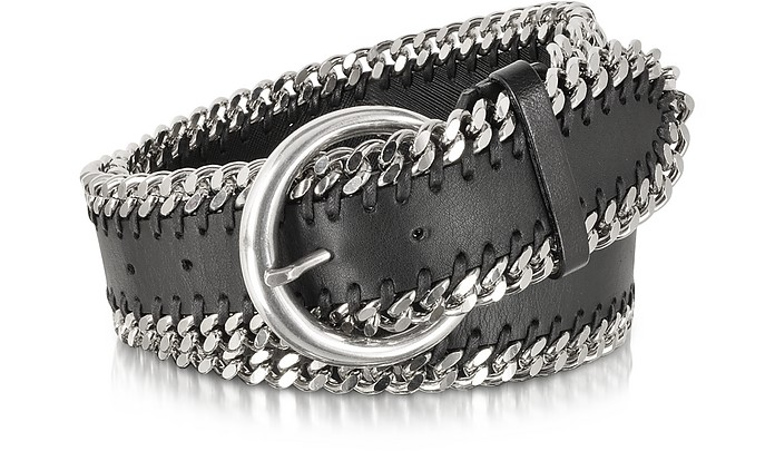 Black Leather Chain Belt - Forzieri
