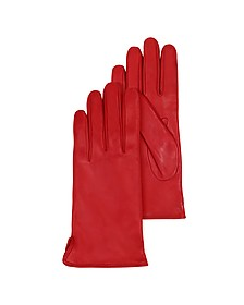 Red Leather Women's Gloves w/Cashmere Lining - Forzieri