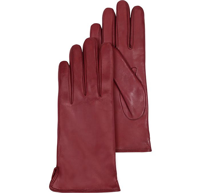 Burgundy Leather Women's Gloves w/Cashmere Lining - Forzieri