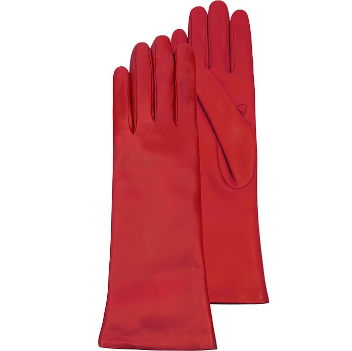 Red Leather Women's Long Gloves w/Cashmere Lining - Forzieri