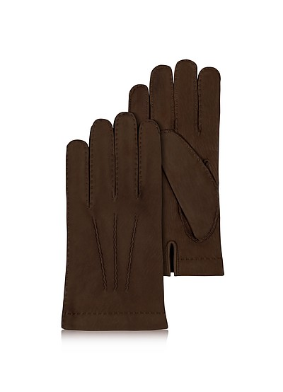 Men's Cashmere Lined Dark Brown Italian Calf Leather Gloves - Forzieri