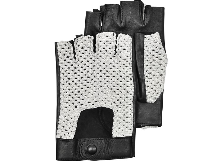 Black Leather and Cotton Men's Driving Gloves - Forzieri