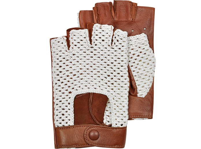 Brown Leather and Cotton Men's Driving Gloves - Forzieri / フォルツィエリ