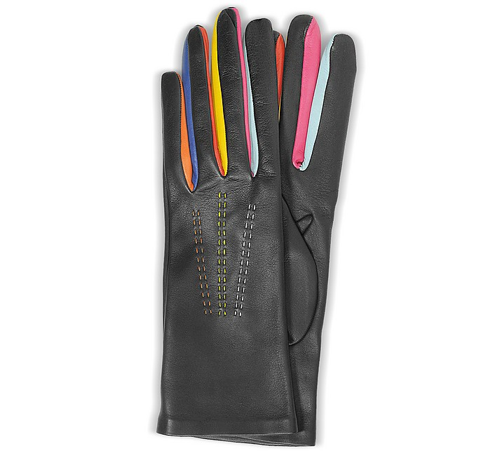 Arlecchino Black Leather Women's Gloves w/Silk Lining - Forzieri / フォルツィエリ