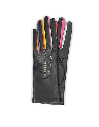 158596742 Arlecchino Black Leather Women's Gloves w/Silk Lining - Forzieri