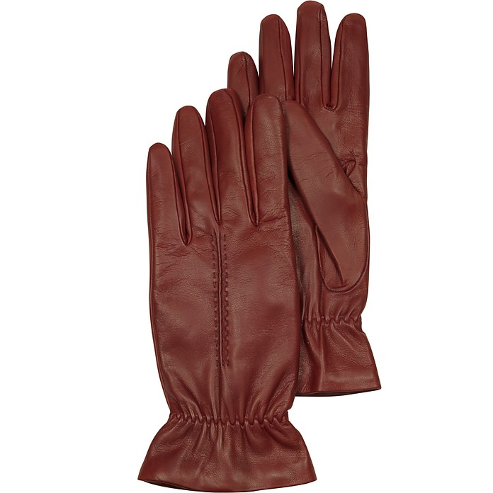 Burgundy Leather Women's Gloves w/Wool Lining - Forzieri
