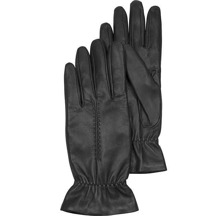 Black Leather Women's Gloves w/Wool Lining - Forzieri
