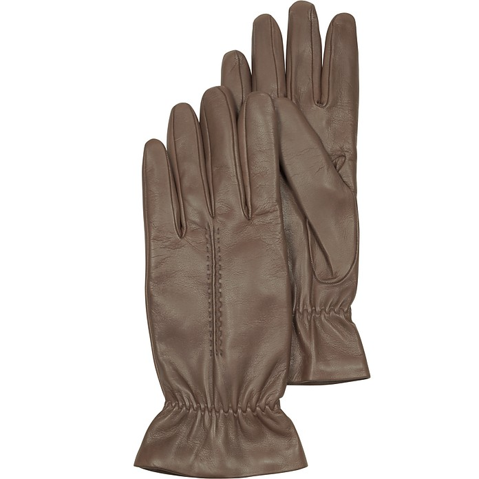 Taupe Leather Women's Gloves w/Wool Lining - Forzieri