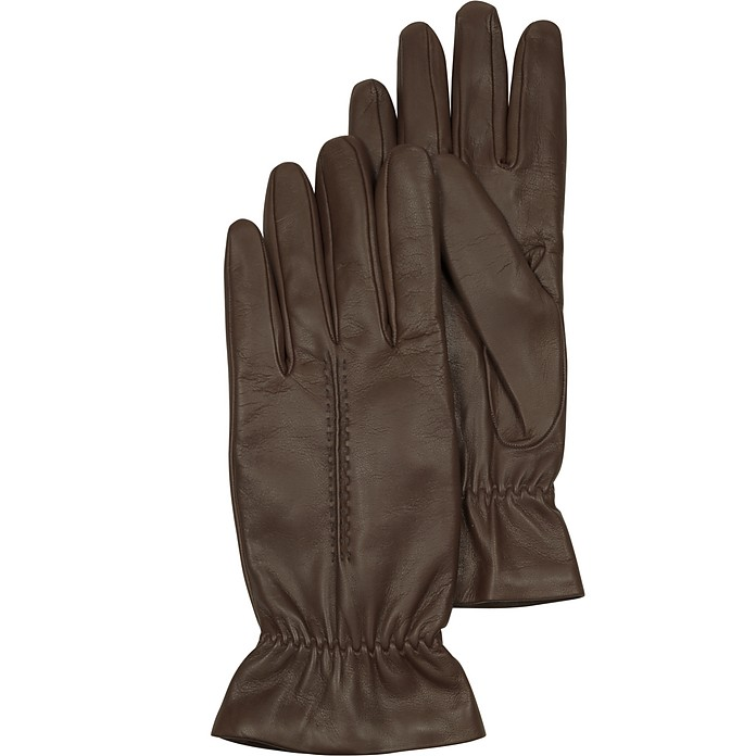Chocolate Brown Leather Women's Gloves w/Wool Lining - Forzieri / フォルツィエリ