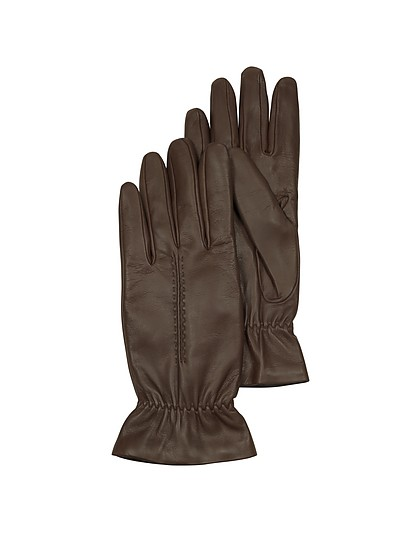 Chocolate Brown Leather Women's Gloves w/Wool Lining - Forzieri