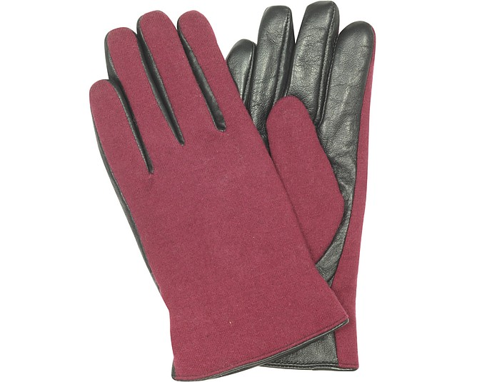 Black Leather & Burgundy Wool Women's Gloves - Forzieri