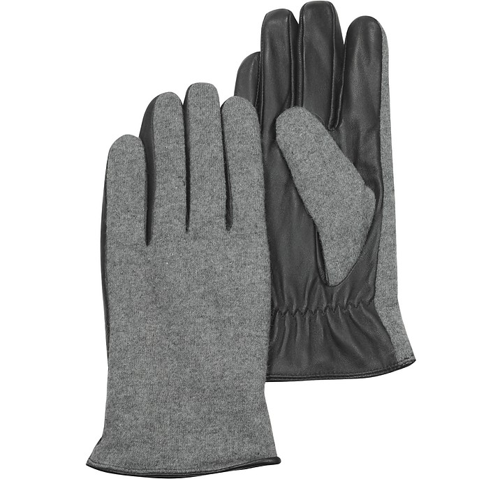 Black Leather & Gray Wool Women's Gloves - Forzieri