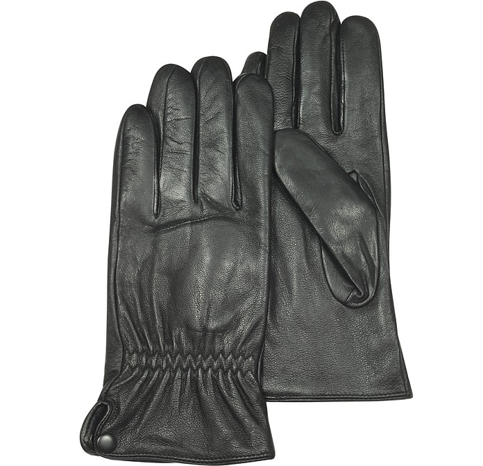 Black Leather Men's Gloves - Forzieri