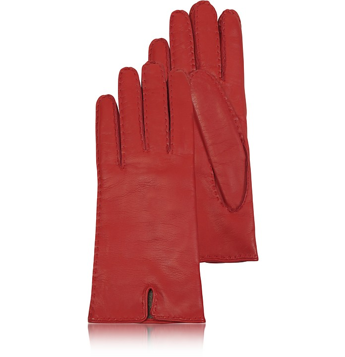 Women's Cashmere Lined Red Italian Leather Gloves - Forzieri