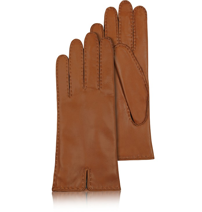 Women's Cashmere Lined Brown Italian Leather Gloves - Forzieri