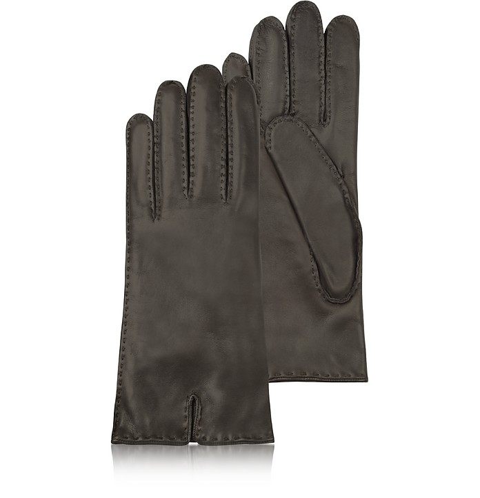 Women's Cashmere Lined Dark Brown Italian Leather Gloves - Forzieri