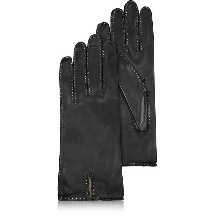 Women's Stitched Cashmere Lined Black Italian Leather Gloves - Forzieri