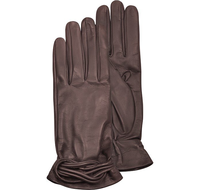 Women's Brown Leather Gloves w/Knot - Forzieri