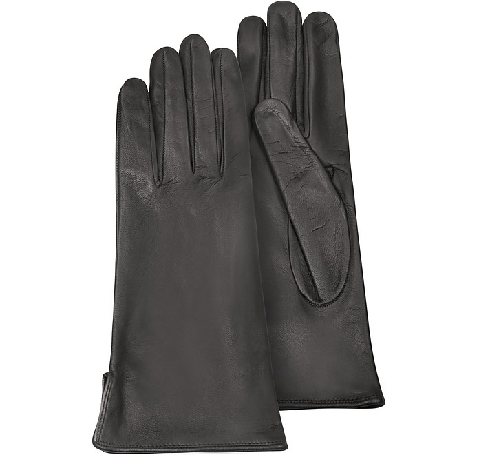 Women's Black Calf Leather Gloves w/ Silk Lining - Forzieri
