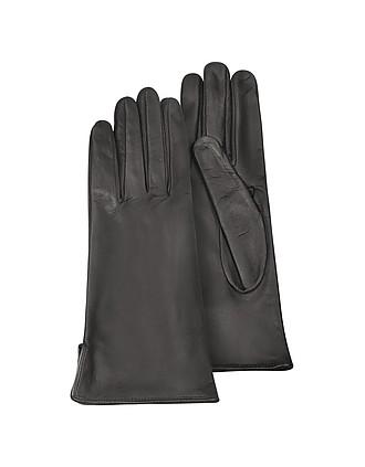 01d8a2e70b21c Women s Black Calf Leather Gloves w  Silk Lining - Forzieri