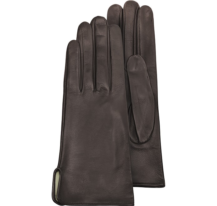 Women's Brown Calf Leather Gloves w/ Silk Lining - Forzieri