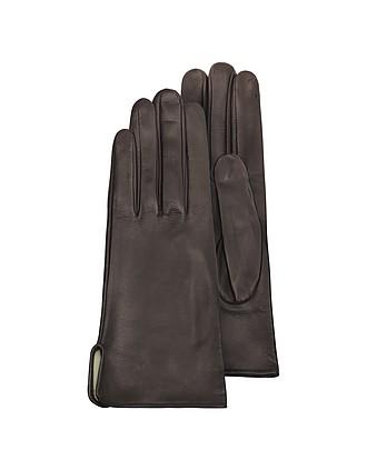 6a78a77c6c66e Women s Brown Calf Leather Gloves w  Silk Lining - Forzieri