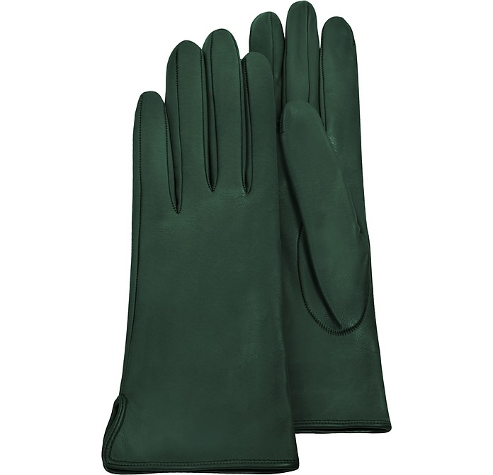 Forest Green Calf Leather Women's Gloves w/Silk Lining - Forzieri / フォルツィエリ