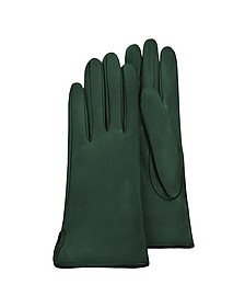 Forest Green Calf Leather Women's Gloves w/Silk Lining