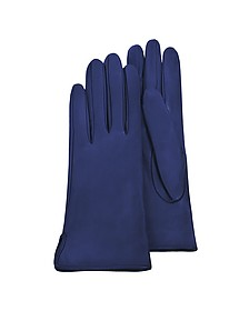 Women's Bright Blue Calf Leather Gloves w/ Silk Lining - Forzieri