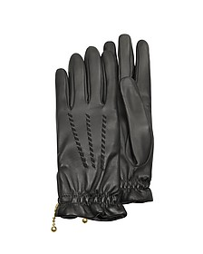Women's Embroidered Black Calf Leather Gloves  - Forzieri