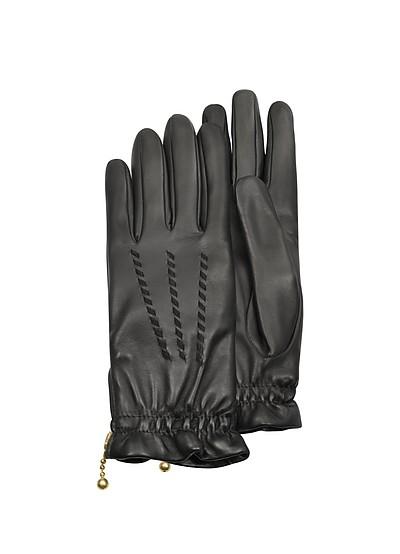 Damen-Handschuhe aus geprägtem Wildleder in schwarz - Forzieri