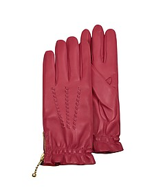 Women's Embroidered Red Calf Leather Gloves  - Forzieri