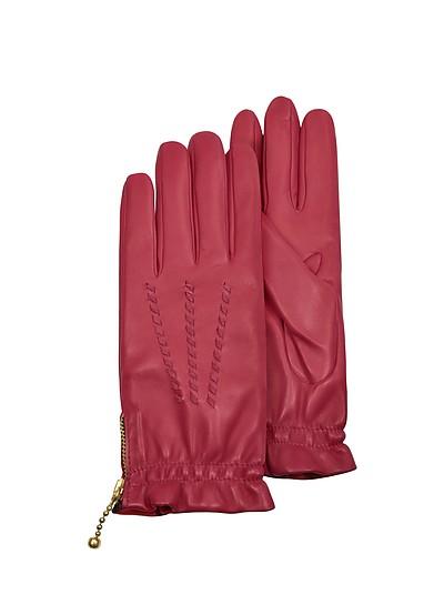 Damen-Handschuhe aus rotem Kalbsleder mit Stickmuster - Forzieri