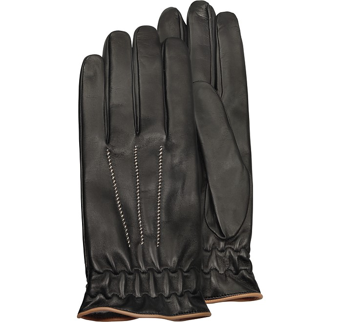 97e589297bf5b Forzieri Men's Black Cashmere Lined Calf Leather Gloves S |8