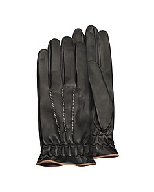 Men's Black Cashmere Lined Calf Leather Gloves - Forzieri