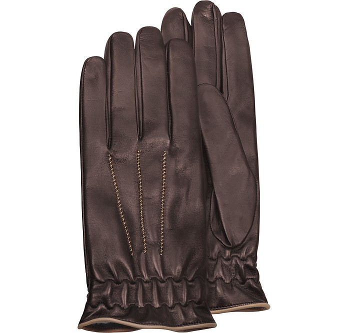 Men's Brown Cashmere-Lined Calf Leather Gloves - Forzieri