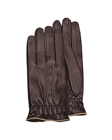 Men's Brown Cashmere-Lined Calf Leather Gloves