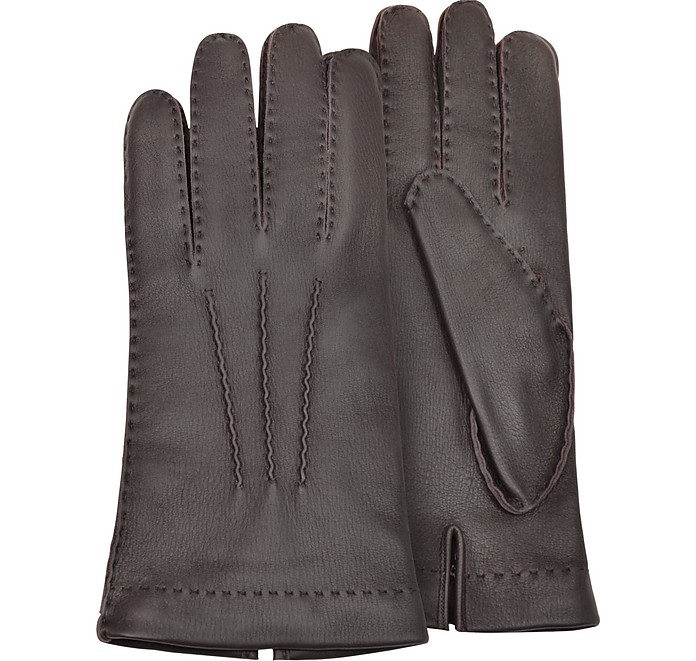877d079a305f Forzieri Men s Cashmere Lined Brown Italian Deer Leather Gloves S