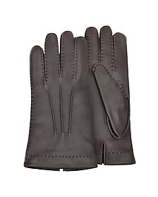 Men's Cashmere Lined Brown Italian Deer Leather Gloves - Forzieri