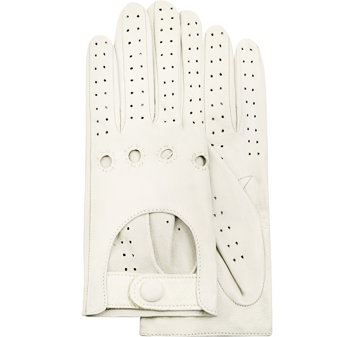 Women's Perforated Italian Leather Driving Gloves - Forzieri