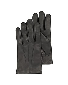Black Leather Handmade Men's Gloves w/Wool Lining - Forzieri